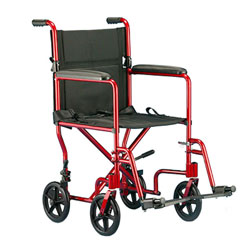 Invacare Aluminum Transport Chair 19 inch Perm Arm Footrest- RED Price: $199.95