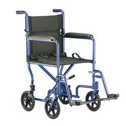 Invacare Aluminum Transport Chair 19 inch Perm Arm Ftrst -BLUE Price: $209.95