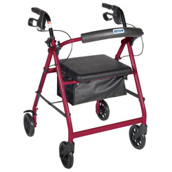 Aluminum Rollator - Red, 4 Wheel, 6 inch Casters w Loop Lock Price: $99.95