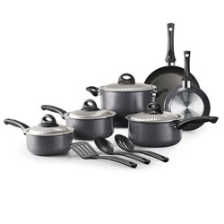 13-Pc Lock and Drain Non-Stick Cookware Set-Charcoal Gray