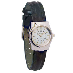 REIZEN Braille Womens Watch (Chrome, Leather Band) Price: $69.95