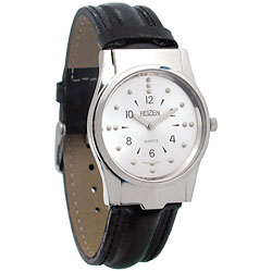 Reizen Mens Braille Watch (Chrome, Leather Band) Price: $69.95