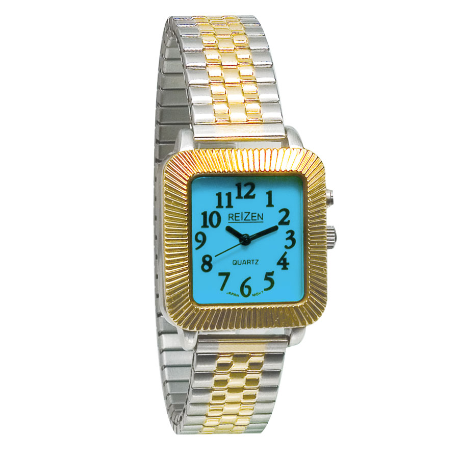 Reizen Unisex Glow-in-the-Dark Watch - Square Face with Expansion Band Price: $12.95
