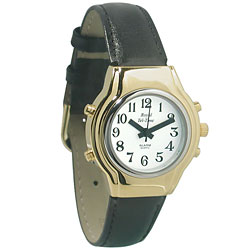 MaxiAids Ladies Royal Tel-Time Talking Watch - White Dial - Black Leather Band (702541) at Sears.com