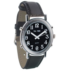 Tel-Time Mens Chrome Talking Watch - Black Face, Leather Band (702771) at Sears.com