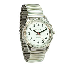 Mens Low Vision Watch-Discreet Voice-Chrome Price: $29.95