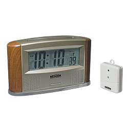 Reizen Atomic Talking Clock with Indoor-Outdoor Therm - click to view larger image