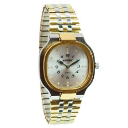 Reizen Mens Bi-Color Square Braille Watch-Exp Band Price: $59.95