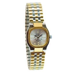 Reizen Ladies Bi-Color Square Braille Watch-Exp Band Price: $59.95