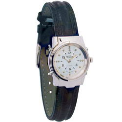 Ladies Chrome Braille and Talking Watch - Leather Band - click to view larger image