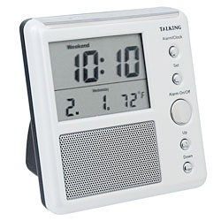 Talking Alarm Clock with Talking Indoor Temperature Price: $15.95