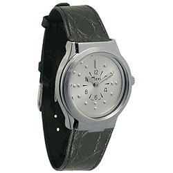 Mens Chrome Quartz Braille with Leather Band - click to view larger image