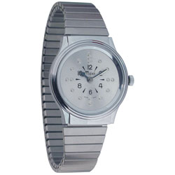 Mens Chrome Automatic Braille Watch with Chrome Expansion Band