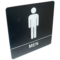 Tactile Braille Signs - Men; Bathroom Price: $19.95