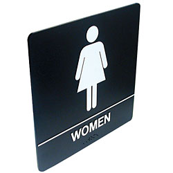 Tactile Braille Signs - Women; Bathroom Price: $19.95