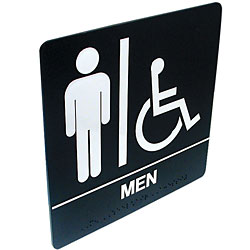 Tactile Braille Signs - Men; Handicap Price: $19.95