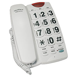 REIZEN Big Button Speaker Phone - White with Black Numbers - click to view larger image