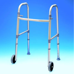 Fixed Wheel Dual Paddle Adult Folding Walker with Glides - click to view larger image