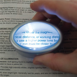 LED Lighted Oval Dome Magnifier - 6x Price: $24.95