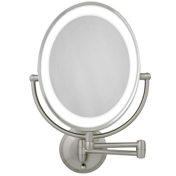 Led Lighted Wall Mount Oval Make Up Mirror 10x 1x