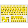 Large Print Keyboard Labels for PCs- Black-Yellow
